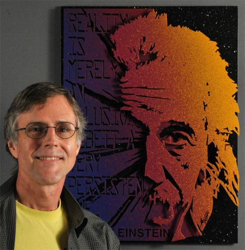 Alan Derrick with Einstein - Alan Derrick – 3D Metal Pop Art - http://the-art-blog.info/900/alan-derrick-3d-metal-pop-art/