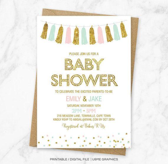 Pink Mint Gold Baby Shower Invitation Tassel Garland