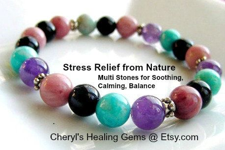 Anxiety Bracelet, Multi Stones for Soothing, Focus, Balance, Positive, Chakra Jewelry,Healing, Reiki, BuzzFeed Trending Now