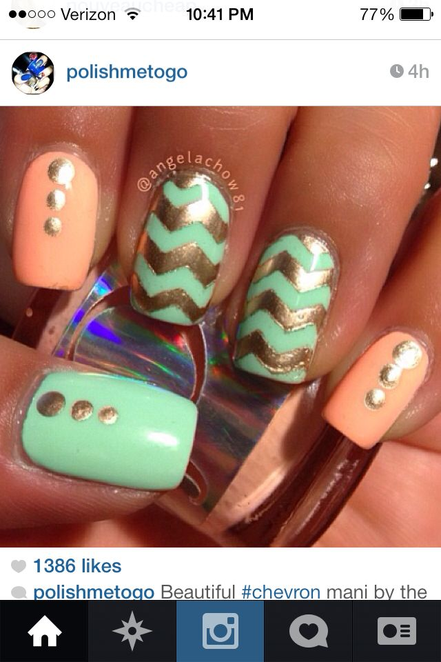 Chevron coral, teal and gold