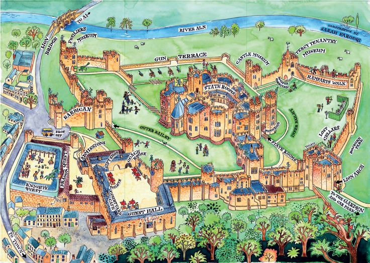 A wonderful hand drawn map of Alnwick Castle.