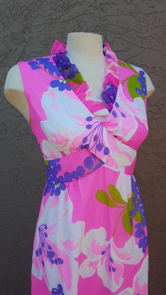 Vintage Malia Honolulu 1960  1970's Pink & Purple Max
