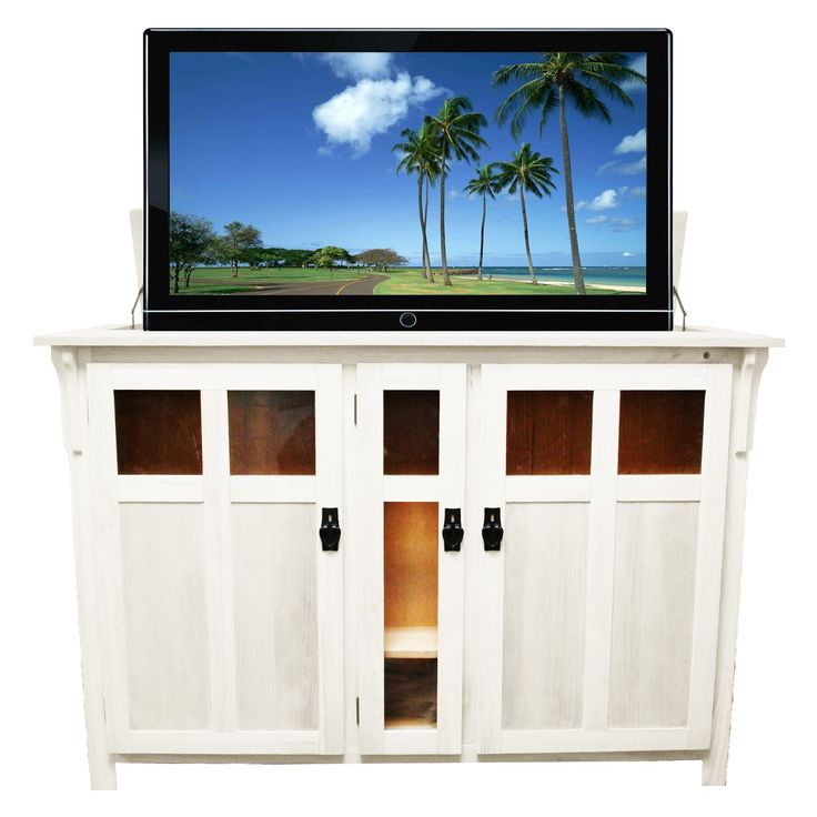 arts and crafts heritage style pop up tv cabinet with built in whisperlift pro motorized tv lift in unfinished wood choose a custom finish or paint it