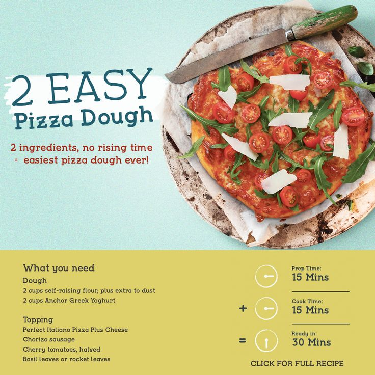 2 ingredients, no rising time = easiest pizza dough ever! Make this recipe. 30 mins – Serves 10.