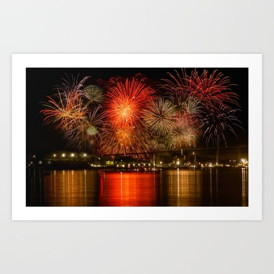 Fireworks over Halifax Harbour - Framed Giclee Print!
