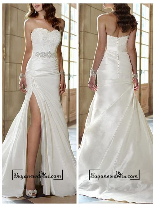 Attractive Taffeta Sheath Sweetheart Neckline Natural Waist Slit Floor Length Wedding Dress