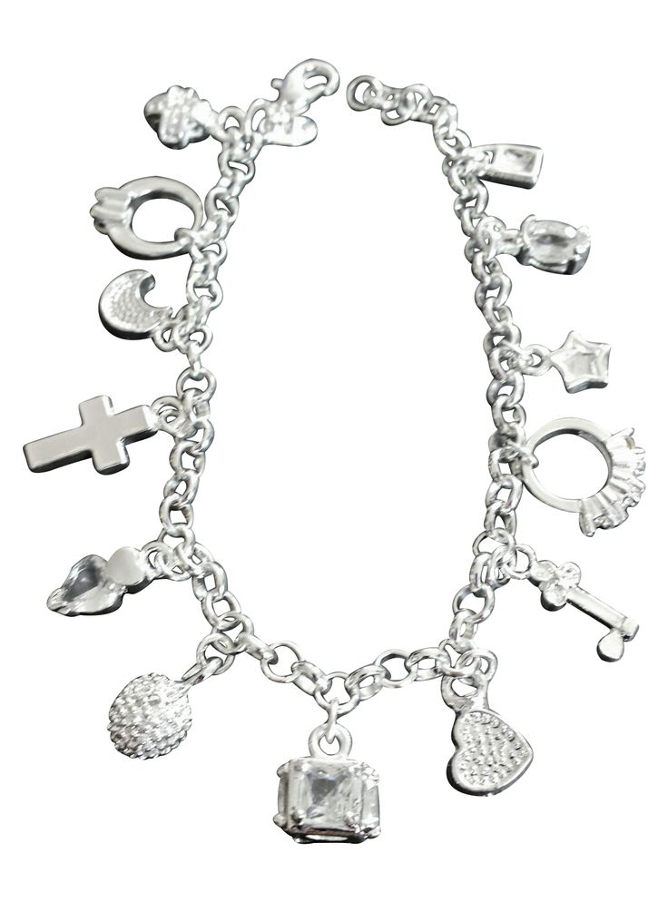 Beautiful sterling silver charm bracelet with 13 sparkling dangling charms.  Perfect gift for the bride to be or bridesmaids!  Lover, love of your life, significant other or even add an engagement ring and propose with this amazing bracelet!  She will treasure it the rest of her life!!!
