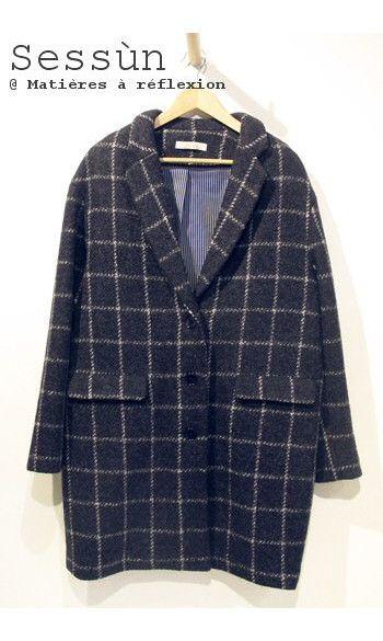 Sessun manteau Oncle Georges bleu marine #sessun #checkered #coat