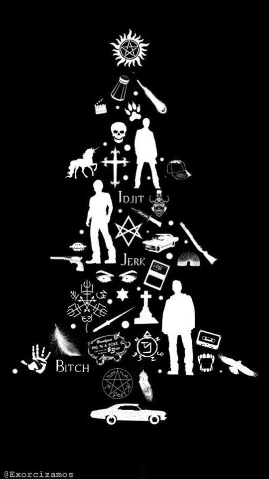 Wallpaper Lockscreen Supernatural Christmas (made by @exorcizamos on Twitter)