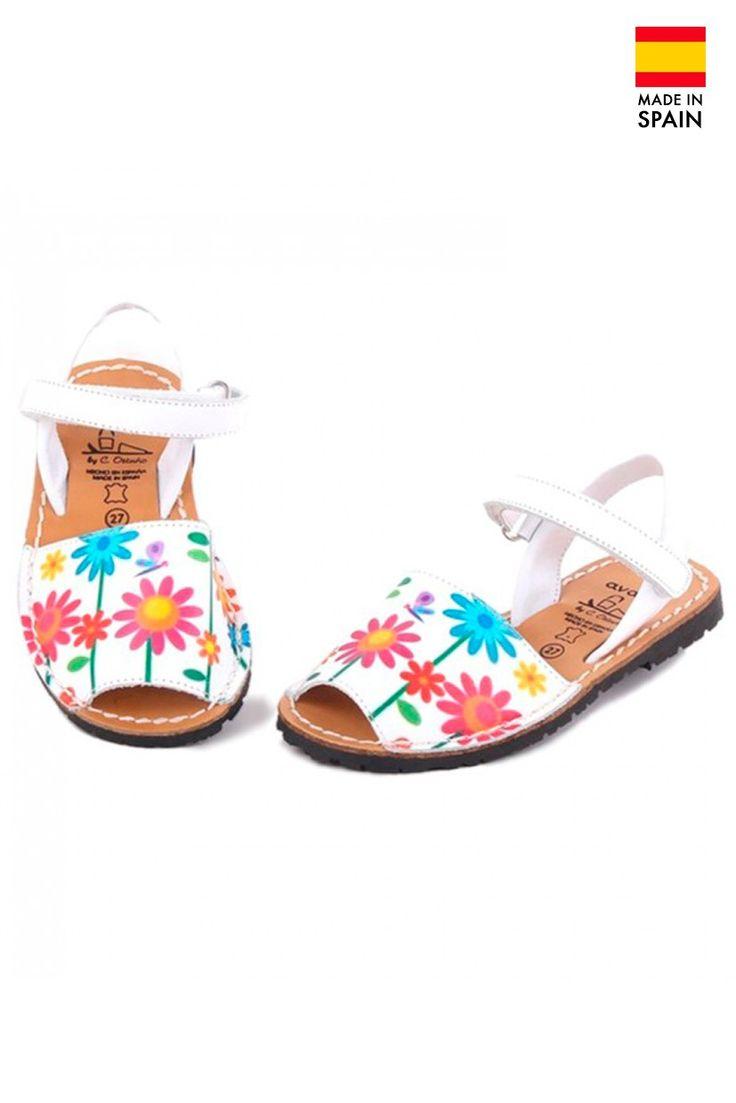 Sandale Avarca Menorquinas pentru copii din piele naturala, Flower, alb | Summer Sandals | Colecții