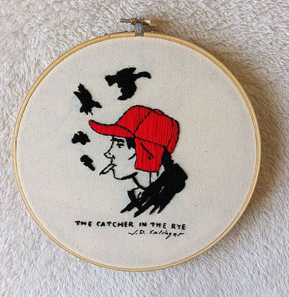 The catcher in the rye embroidery hoop/Book by Petricorembroidery