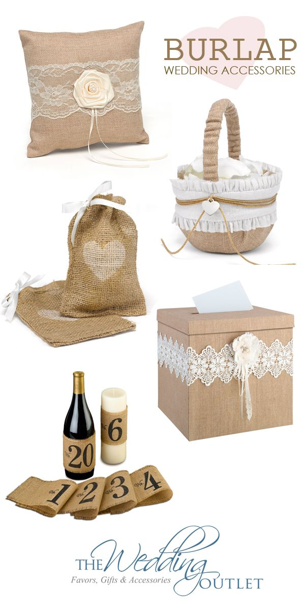 Burlap wedding accessories are all the rage for rustic weddings and we can see why! We simply love these popular burlap and lace accessories for weddings.
