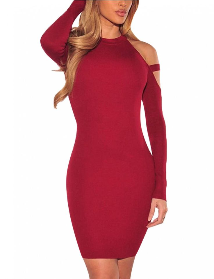 Sexy Off Shoulder Dress Tight Dress Long Sleeve Knee-length Dress for Women - Yesfashion.com in Free Shipping