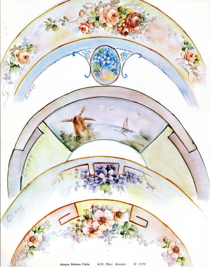 This is a china painting study by Jacque Gilman titled #30 Plate Borders Folio published in 1970. This study is used in excellent condition with instructions and line drawings and comes from a smoke free home.