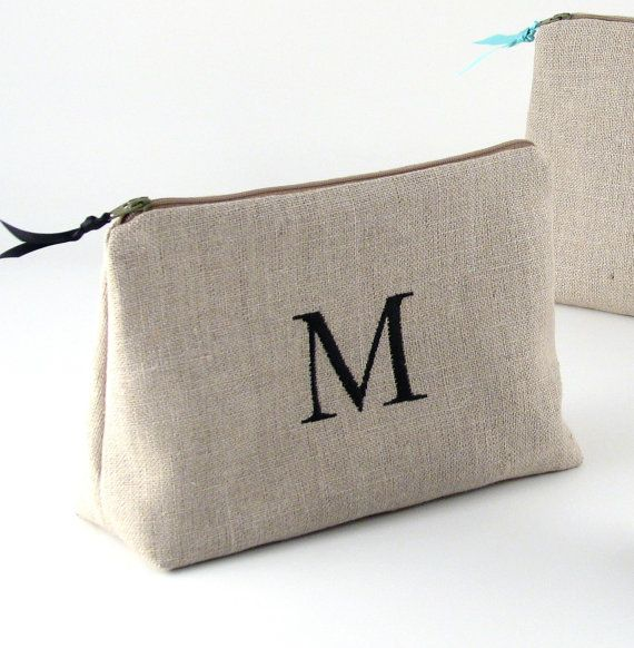 FREE SHIPPING - Bridesmaid Personalized Cosmetic Bag // Bridesmaid Linen Clutch…