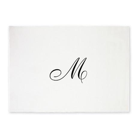 SOLD this nice ornate script monogram letter M in black 5x7 Area rug!