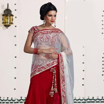 Dark Red Velvet Readymade Lehenga Choli with Dupatta