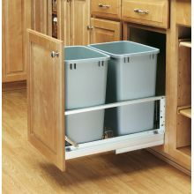 5349 Series Double 35 Quart Trash Bin Pull Out for 15 Inch Base Cabinets with Soft Close Feature