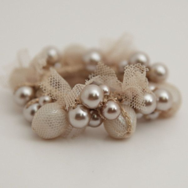 Acrylic ball pearl ball mix mesh wrap hair ties ponytail holder