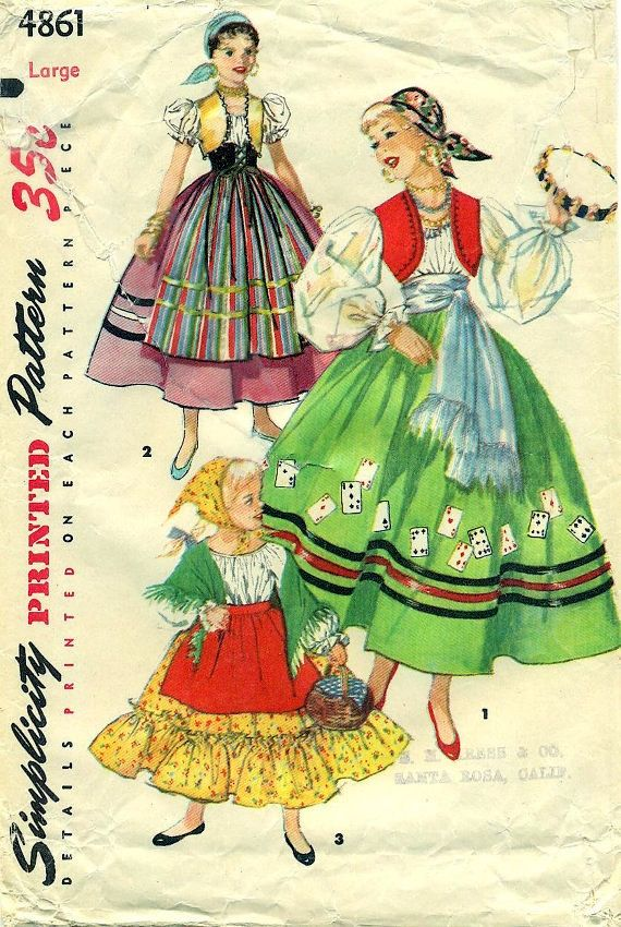 Simplicity 4861 GYPSY SPANISH & PEASANT Costumes circa 1952