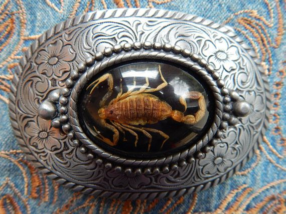 Vintage Western Silver Belt Buckle with Scorpion Center