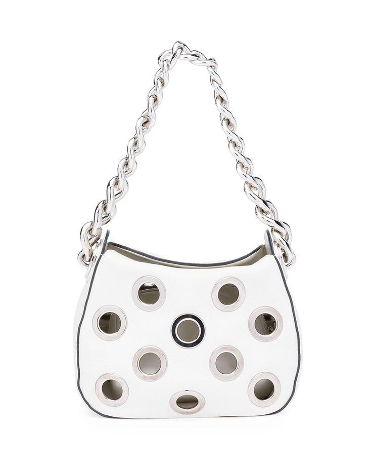 Prada Vitello Daino Small Perforated Chain Hobo Bag, White (Talco ...