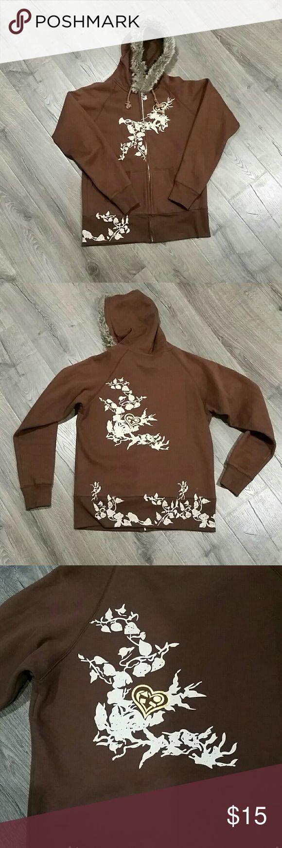 Fur hooded zip up sweatshirt Brown zip up hooded sweatshirt with fur trimmed hood. Foilage pattern on front and back with gold heart detail. maui girl Tops Sweatshirts & Hoodies