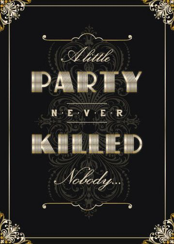 1920's Theme Party Invitations in Silver, Gold or Platinum