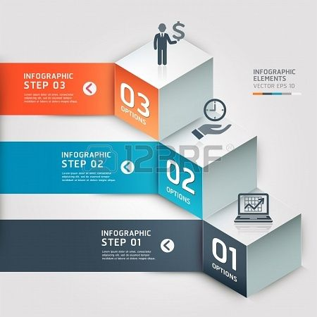 Modern Business step options Vector illustration can be used for workflow layout, diagram, number options, step up options, web design, infographics, banner Stock Photo - 18593205