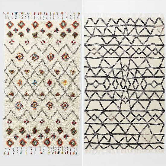 The Riad Wool and Torres Wool Kilim rugs add a fresh twist to the trendy Beni Ourain design.
