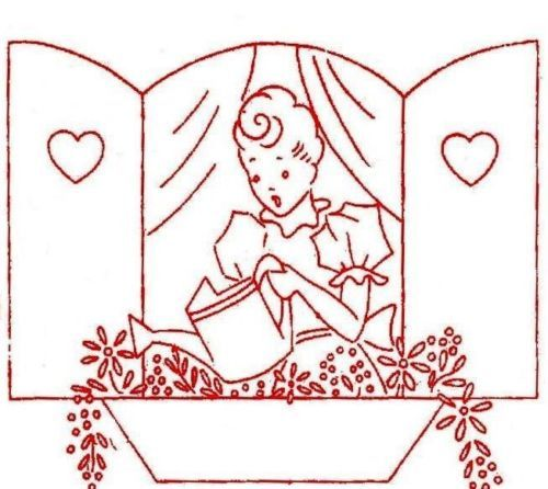 Vintage-Embroidery-transfer-repo-9330-WWII-for-Bride-Tea-Towels-1940s-Kitchen