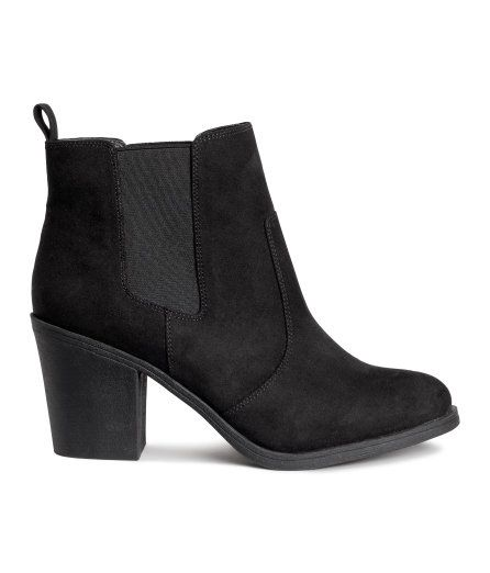 Check this out! Ankle boots in imitation suede with decorative seams, elastic side panels, and loop at back. Satin lining, imitation leather insoles, and rubber soles. Heel height 3 1/4 in. - Visit hm.com to see more.