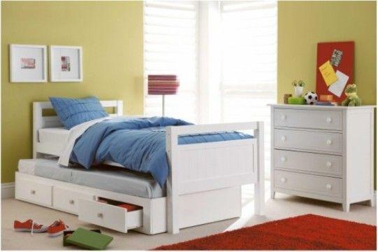 Tempat Tidur Anak Minimalis TTA-001 memiliki tampilan desain minimalis modern terbuat dari kayu mahoni yang disempurnakan dengan finishing cat duco putih.