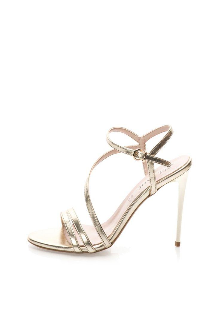 Sandale aurii din piele cu toc inalt - Zee Lane