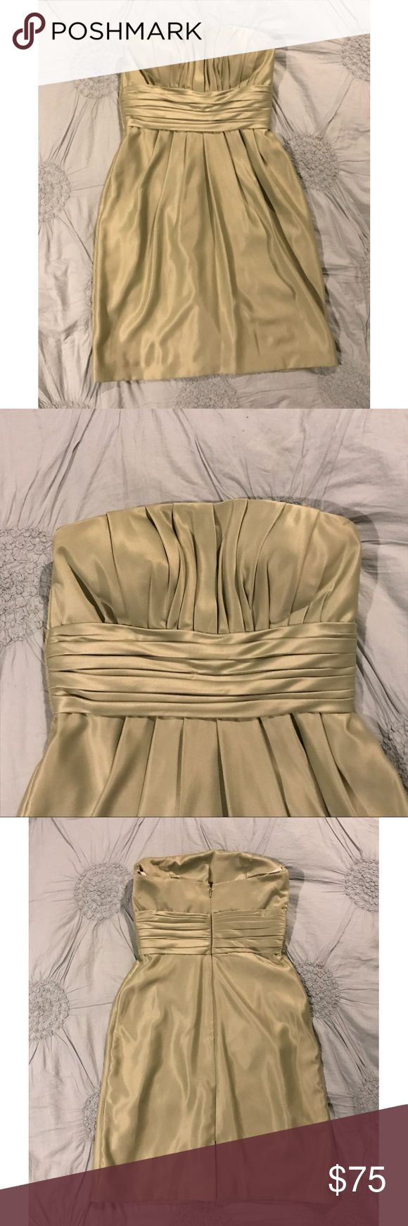 Pistachio Strapless Formal Dress ✨WORN ONCE, PERFECT CONDITION ✨Material: 100% rayon (outside) and 100% polyester (inside) ✨So so comfortable! ✨Strapless ✨Length is mid/lower thigh depending on how tall you are! ✨Beautiful pistachio color ✨Straps for hanging at the top ✨Zips up in back Bill Levkoff Dresses Strapless