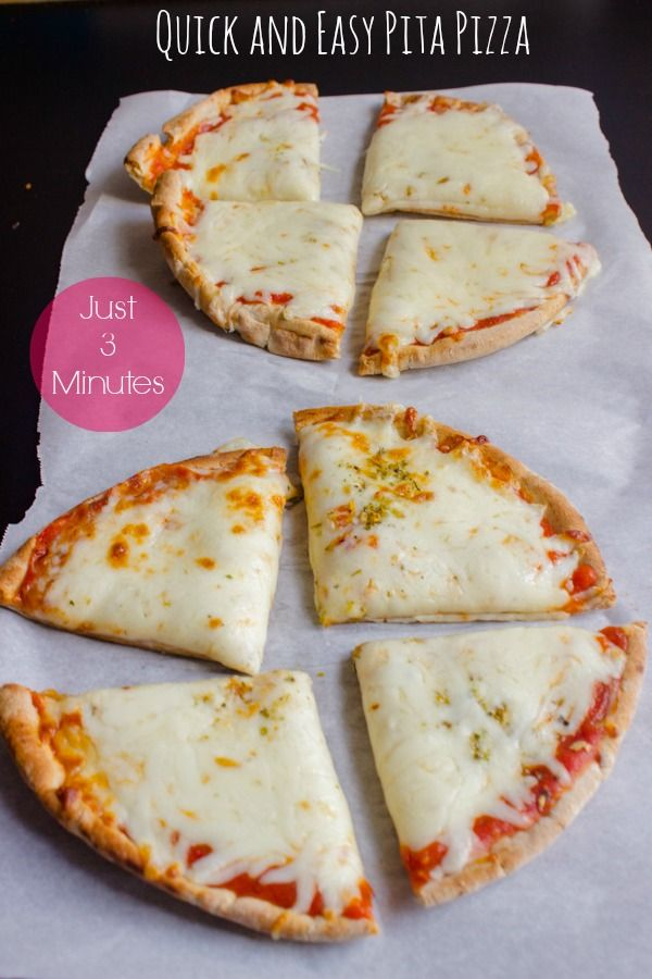 Quick and Easy Pita Pizza-Just 3 minutes, Add any toppings you like!  Great for a quick supper w/ a Salad.  SUB out Reg Pita for Whole Wheat Pita and Low fat Cheese, etc.