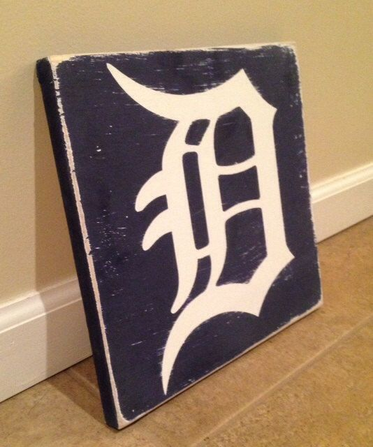Detroit D sign  wood wall art by MittenMadeDesigns on Etsy, $20.00