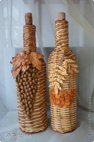 Украшения плетут виноград и стеклянные бутылки, рябина Кофе Через фотобумага 15