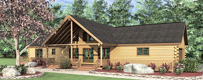 3 Bedroom Single Story Woodland Log Home Floor Plan