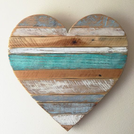 Medium 18″ rustic striped turquoise heart, beach , wall decor, cottage