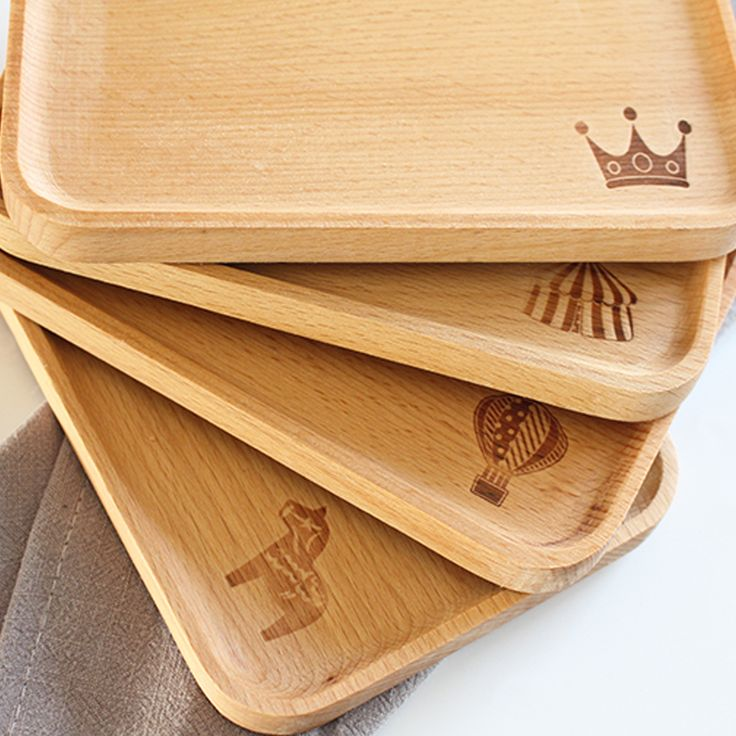PINJEAS Kitchen Plate Unpainted Wood Tray estaurant Cafe Cupholders Cake Dessert Baking Dishes set -Handmade Natural Beech Plate