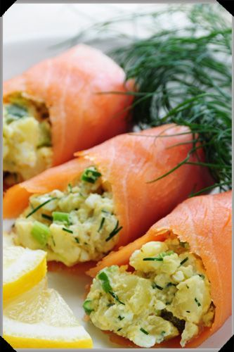 Smoked salmon stuffed with potato salad ~ The potato salad for this is made with cream cheese, not mayonnaise.