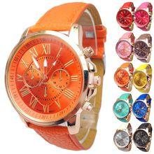 2017 Número Romano Reloj Relojes de Ginebra Hombres Mujeres Casual Para Mujeres de Los Hombres de Cuero de LA PU de Cuarzo Reloj de Pulsera Reloj del relogio