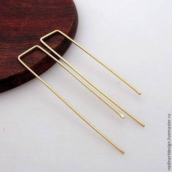 """Купить Золотые серёжки """"Скрепки"""". Элегантные прямоугольные серьги - золотой, серьги, серьги ручной работы"""