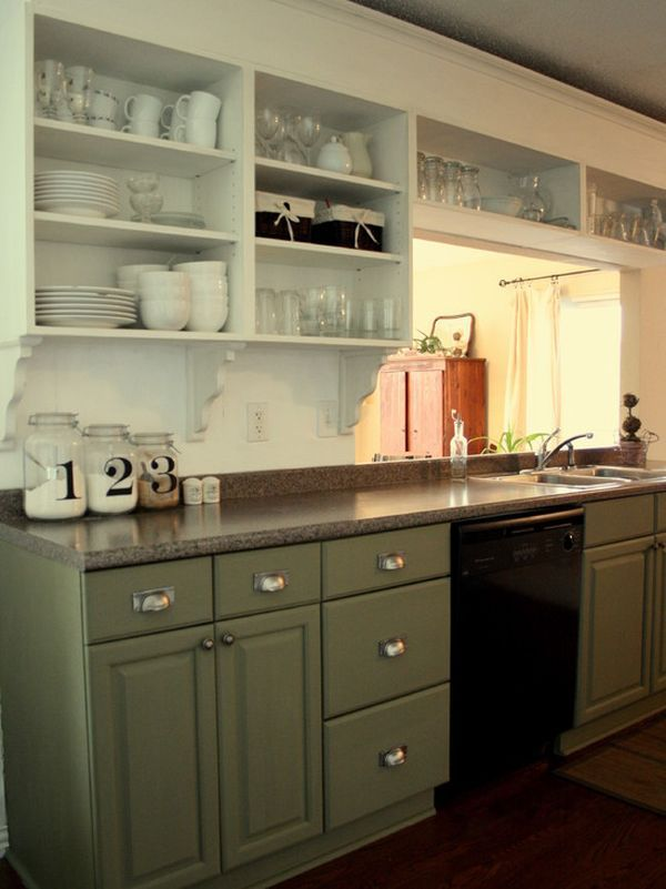 Cottage Style Kitchen With Open Shelving And Traditional Furniture