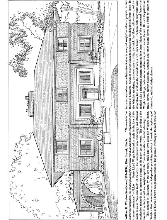 Frank Lloyd Wright S William H Winslow S House Frank Lloyd Wright Coloring Pages