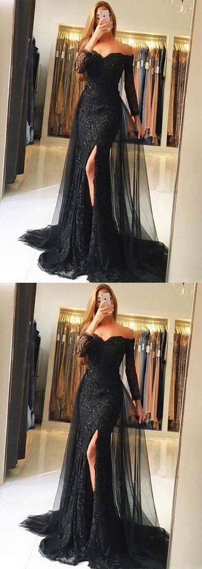 Stilvoll aus der Schulter Meerjungfrau Ballkleid, lange Ärmel schwarz Ballkleider, Abendkleid mit Split Front von Prettyqueenprom