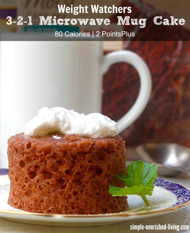 Weight Watchers 3-2-1 Microwave Mug Cake, a simply delicious way to satisfy your sweet tooth in minutes with just 80 calories, 2 Points Plus, 3 SmartPoints