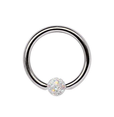 Bild von Titan Piercing Ring BCR 1,2 x 6-10 mm + 3 mm Ferido Epoxy Kugel #augenbrauenpiercing