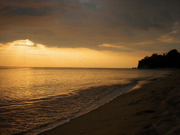 Chalkidiki beach over sunset.